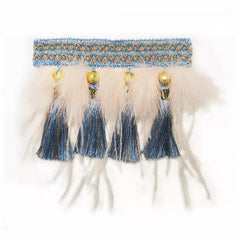 Tassel Pendant Feather Woven Collar Slider - B013