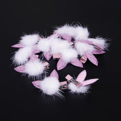 Pompon with Pink Rabbit Ear Pet Hair Clip-A094