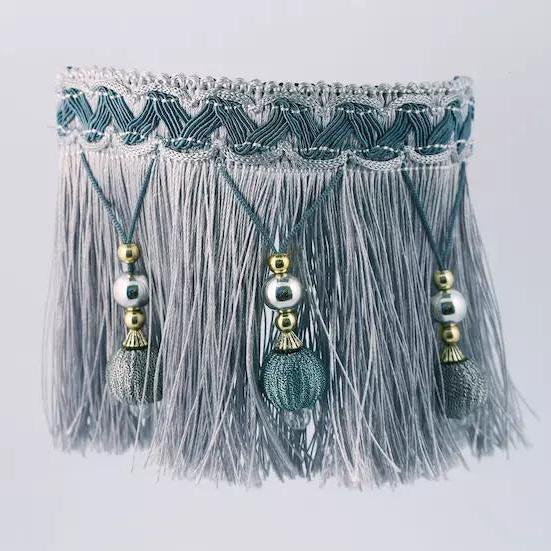 Classic Beads Tassel Collar Slider - Grey - B014