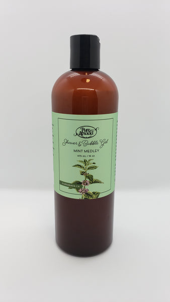 Mint Medley Shower and Bubble Gel, 475 mL/16 oz bottle, Lightly scented with spearmint, peppermint and citrus.
