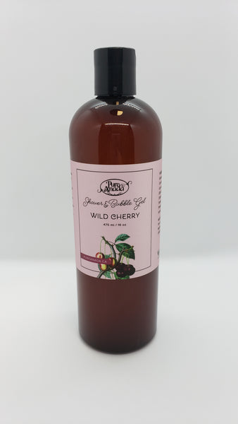 Wild Cherry Shower and Bubble Gel, 475 mL/16 oz bottle, Lightly scented with cherries