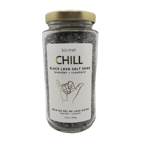 Chill Black Lava Salt Soak - Kismet. 13oz. Glass jar. Scented with Lavender and Rosemary essential oils, Epsom Salts, Pacific Sea Salts and activated charcoal.  All natural, hand crafted and detoxifying.  Add 1/4 cup to a warm bath and chill.