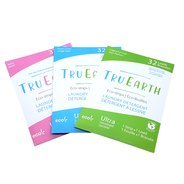 Tru Earth Eco-Strips, Ultra Concentrated Laundry Detergent in a strip, 32 Loads. One strip one load, for all washing machines including HE. Gets out your toughest stains yet gentle enough for the most sensitive skin. Available in Fragrance free, Baby Fragrance Free and Fresh linen Scent.