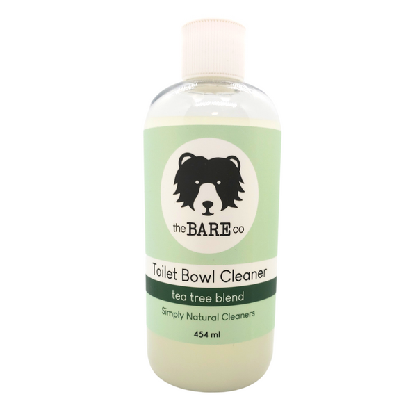 Toilet Bowl Cleaner - The Bare Co.  454ml plastic bottle with spout. Safe for septic systems. Deep clean with Tea Tree and Clove's natural disinfecting and antibacterial properties.  Direct the solution under the rim of toilet, brush and flush!