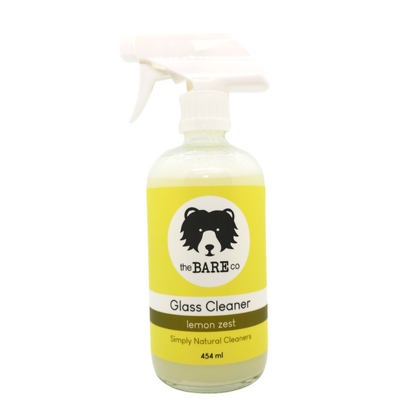 Glass Cleaner - The Bare Co. 454ml Glass Spray Bottle.  All natural cleaner. Use on any mirrored surface or windows for a beautiful shine. Scented with lemon essential oils. Shake well before use.