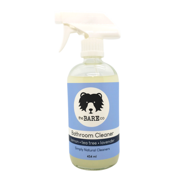 Bathroom Cleaner - The Bare Co. 454ml Glass Spray Bottle. All Natural Cleaner. Strong enough to eliminate any grimy buildup yet safe on tiles, toilets, sinks and taps, showers and bidets.  Scented with essential oils of Tea Tree, Lavender and Lemon for a fresh clean scent.