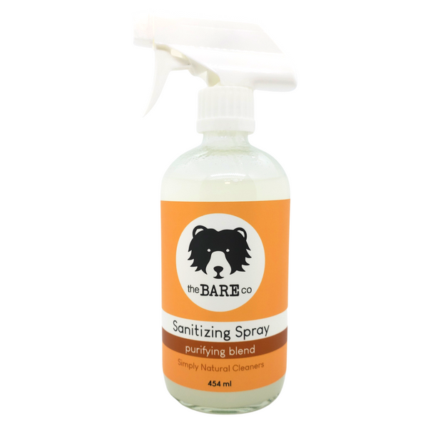 Sanitizing Spray (Purifying Blend) - The Bare Co. 454ml Glass Spray Bottle.    Clean and sanitize with all natural essential oils that are tough on germs but gentle on surfaces. Use on any surface like kitchen counters or anywhere you want to eliminate germs.