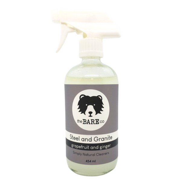 Steel and Granite Cleaner - The Bare Co. 454ml Glass spray bottle. Shake well and spray onto any Stainless Steel appliances, Chrome fixtures, granite or other stone surfaces to make them shine. Scented with essential oils of  Grapefruit and Ginger.