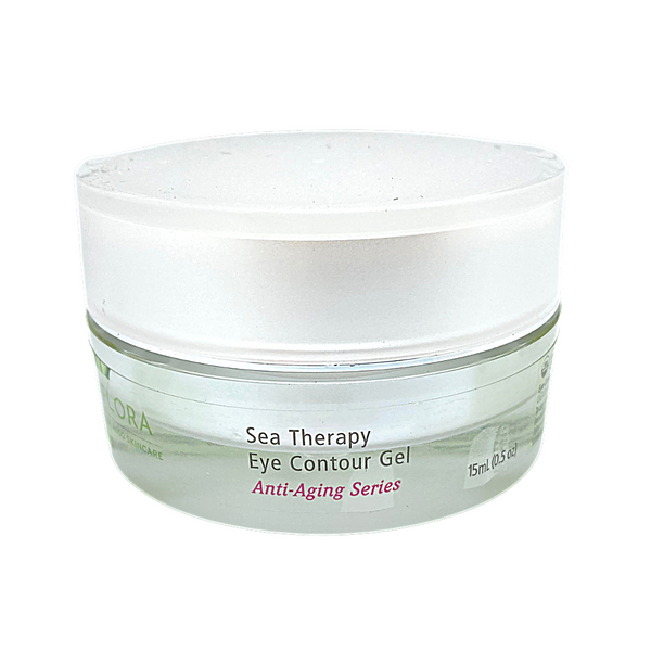 Sea Therapy Eye Contour Gel, 15ml tub. Normal-dry skin types  Aids with signs of aging, hyperpigmentation, sun damage, dehydration, rosacea, eczema and psoriasis.  Hydrates, brightens and plumps the skin. Refines expression lines,  Illuminates skin for a youthful appearance.  Apply morning and night on clean skin.