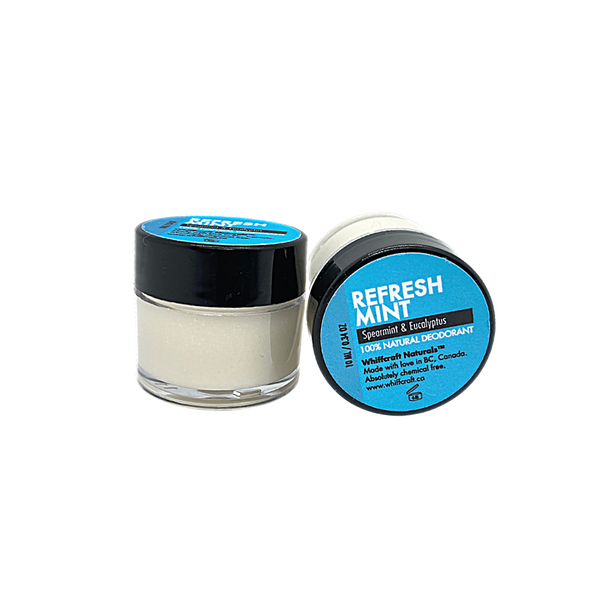 Travel Size, Refreshmint - Natural deodorant. 10ml tub. Chemical free, no synthetic fragrance and Aluminum Free. Scented with cooling and energizing Spearmint, Eucalyptus & Rosemary. Apply a small amount to clean, dry underarms.