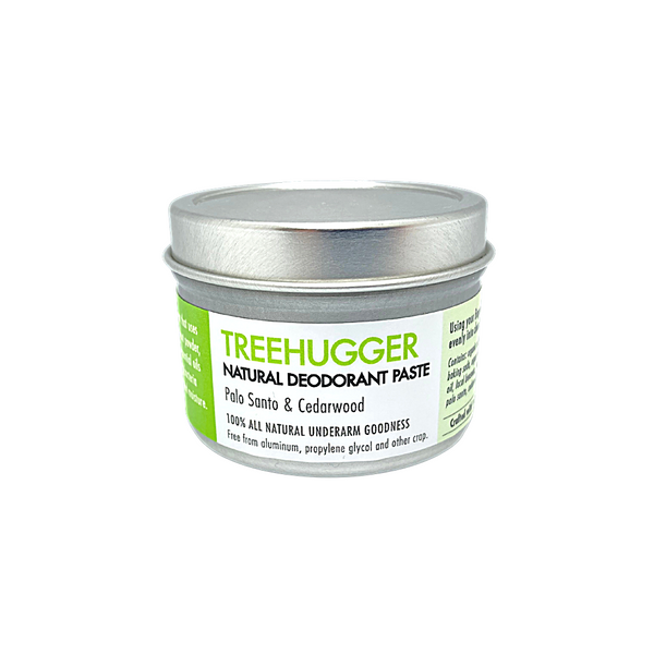 Treehugger - Natural deodorant. 110 gram tin.  Chemical free, no synthetic fragrance and Aluminum Free. Scented with the woodsy scents of Palo Santo & Cedarwood. Apply a small amount to clean, dry underarms.