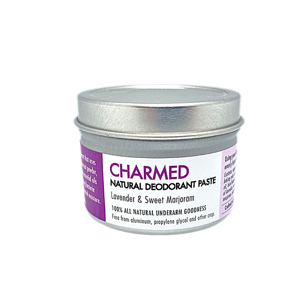 Charmed - Natural deodorant. 110 gram tin.  Chemical free, no synthetic fragrance and Aluminum Free. Scented with floral Lavender and Sweet Marjoram. Apply a small amount to clean, dry underarms.