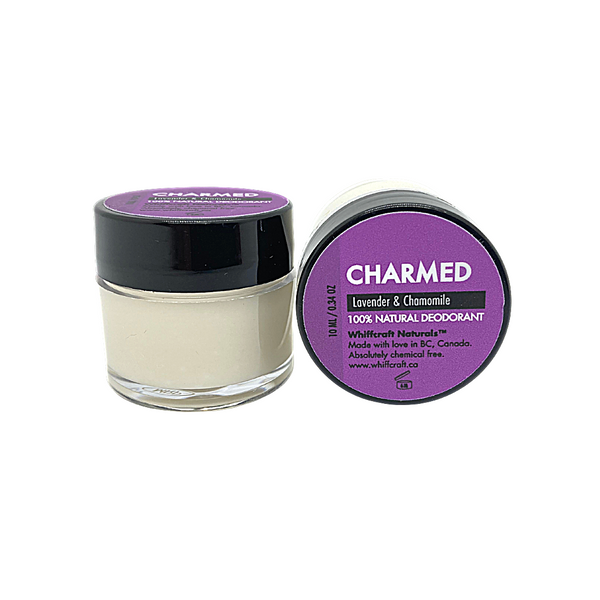 Travel Size, Charmed - Natural deodorant. 10 tub. Chemical free, no synthetic fragrance and Aluminum Free. Scented with floral Lavender and Sweet Marjoram. Apply a small amount to clean, dry underarms.