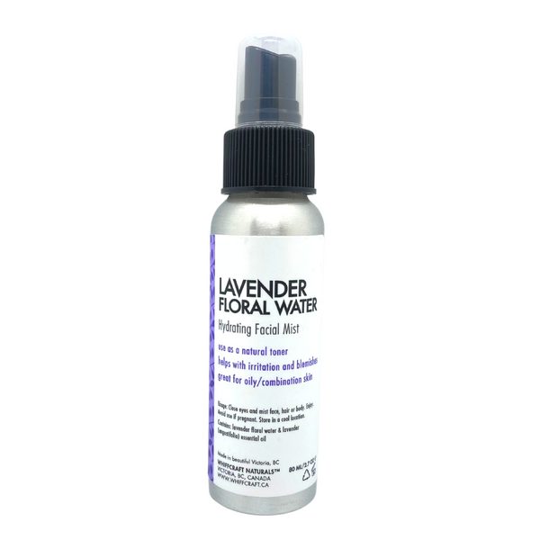 Lavender Floral Water. 80m spray bottle. Set your make up, freshen day old hair, hydrate your skin or mist your bedsheets to scent them with flowery goodness.  Great for oily, combination skin types as a natural toner and helps with irritation and breakouts.