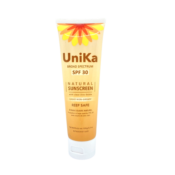 Unika - Broad Spectrum Natural sunscreen, SPF 30, 100g tube, Made in Manitoba and approved by Health Canada. Reef Safe, Light and Non-Greasy.  Apply 15 minutes before any sun exposure.