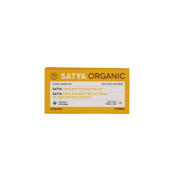 Satya Organic Eczema Relief - Travel Tin. 7ml tin. Steroid Free, Use to prevent chapped lips, relieves eczema, psoriasis, burns, rashes and chaffing. Retains moisture, reduces skin inflammation and irritation.