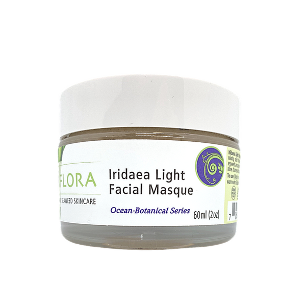 Iridaea Light Facial Masque, 60ml tub, recommended for all skin types and concerns. Strengthens skin's elasticity, increases circulation, detoxifies and gently exfoliates. Contains Kaolin Clay (tightens and tones skin) and Berry extracts (brightens complexion). Use 1 to 2 times a week on clean skin.
