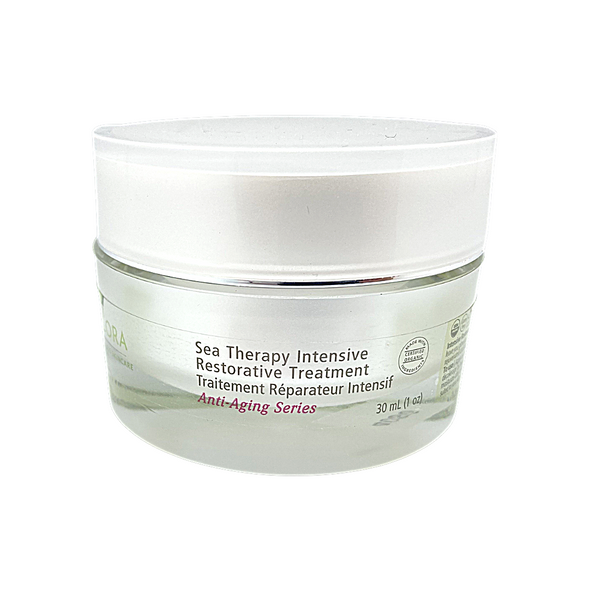 Sea Therapy Intensive Restorative Treatment, 30ml glass tub, recommended for normal to dry, and sensitive skin types. Rich and buttery moisturizer that will melt into your skin. Apply after cleanser and toner as needed morning and night.