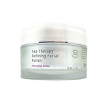 Sea Therapy Refining Facial Polish, 50ml tub. Gentle exfoliant, and very healing, recommended for normal to dry, and sensitive skin types. Contains Organic Seaweed Elixir™, Coconut, Apricot, Pumpkin Seed, Sunflower Seed and Avocado Oils (deep hydration), Ocean Mud (gently refine skin) and Coenzyme Q10 (strong antioxidant).  Use 1 to 2 times per week.