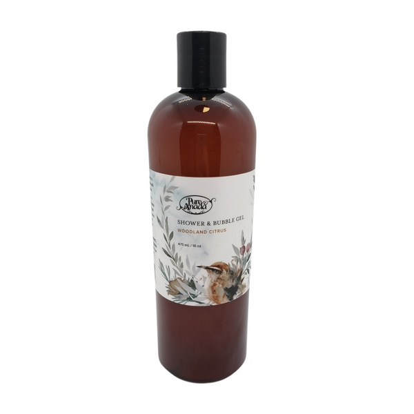 Woodland Citrus Shower and Bubble Gel, 475 mL/16 oz bottle, Lightly scented with orange, cinnamon and pine