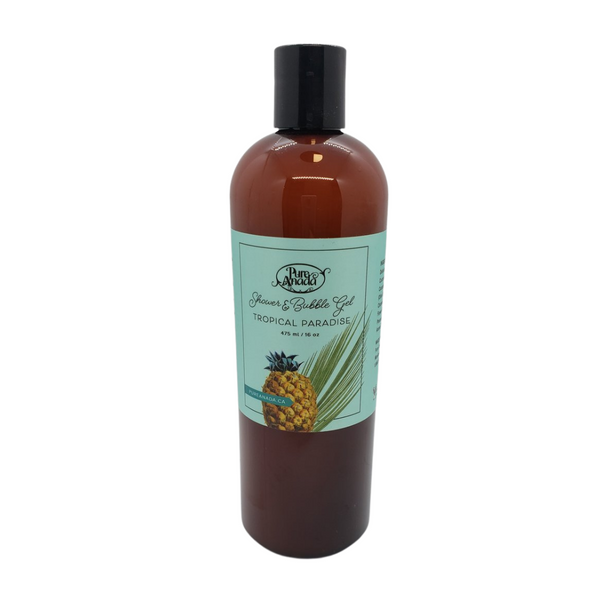 Tropical Paradise Shower and Bubble Gel, 475 mL/16 oz bottle, Lightly scented with coconut and pineapple
