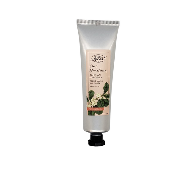 Tahitian Gardenia Shea Hand Cream, 100mL/3.3 oz tube, lightly scented with gardenia flower extract
