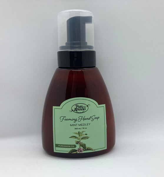 Mint Medley Foaming Hand Soap, 300ml bottle with pump, made from organic plant oils. Mild all Natural soap. Spearmint, peppermint and citrus. scent.