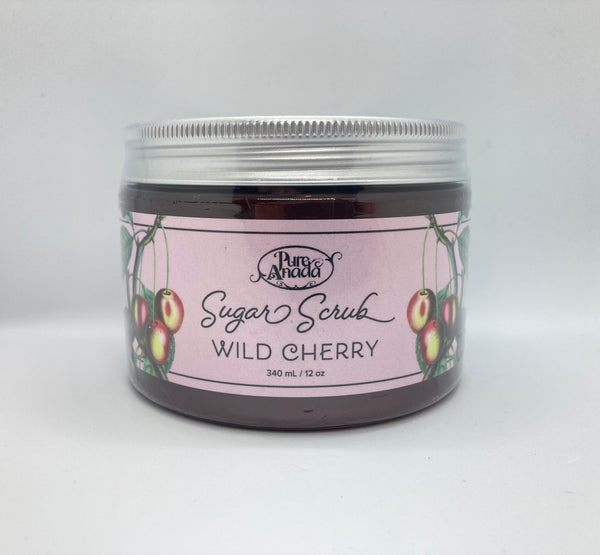 Wild Cherry Sugar Scrub, 340ml/12oz tub, exfoliate, detoxify skin and stimulate circulation, lightly scented with fresh cherries.