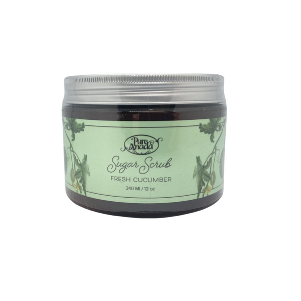 Fresh Cucumber Sugar Scrub, 340ml/12oz tub, exfoliate, detoxify skin and stimulate circulation, lightly scented with cucumber and mint.