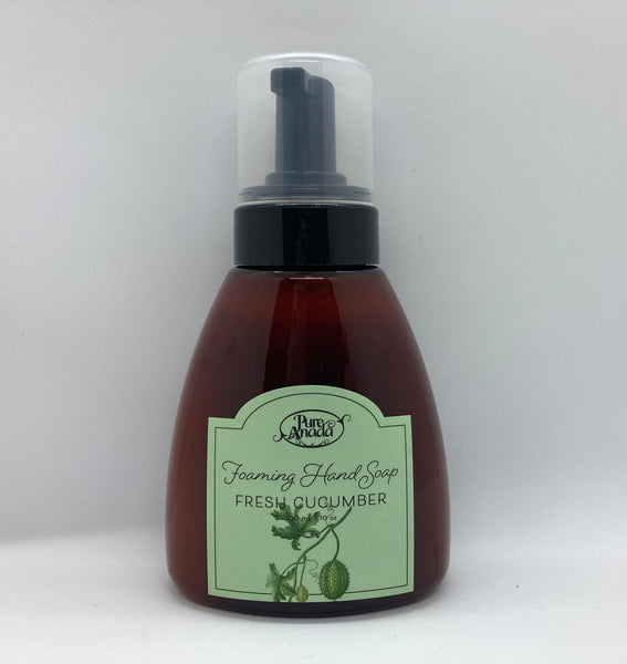 Fresh Cucumber Foaming Hand Soap, 300ml bottle with pump, made from organic plant oils. Mild all Natural soap. Cucumber & Peppermint scent.