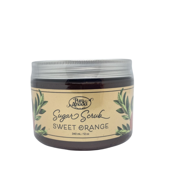 Sweet Orange Sugar Scrub, 340ml/12oz tub, exfoliate, detoxify skin and stimulate circulation, lightly scented with orange.