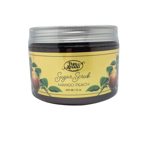 Mango Peach Sugar Scrub, 340ml/12oz tub, exfoliate, detoxify skin and stimulate circulation, lightly scented with ripe mango and fresh peach.