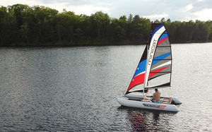 MiniCat 420 Laura Dekker portable catamaran sailboat in northern michigan