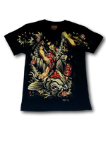 Load image into Gallery viewer, Japanese Samurai and Koi Fish Glow in the Dark HD Rock Chang T-Shirt