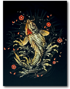 Japanese Samurai and Koi Fish Glow in the Dark HD Rock Chang T-Shirt