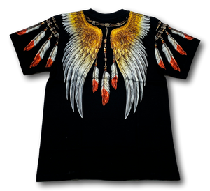Eagle with Native American Feathers Glow in the Dark HD Rock Chang T-Shirt