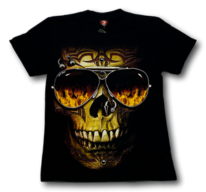 Skull with nose ring Glow in the Dark HD Hot Rock T-Shirt