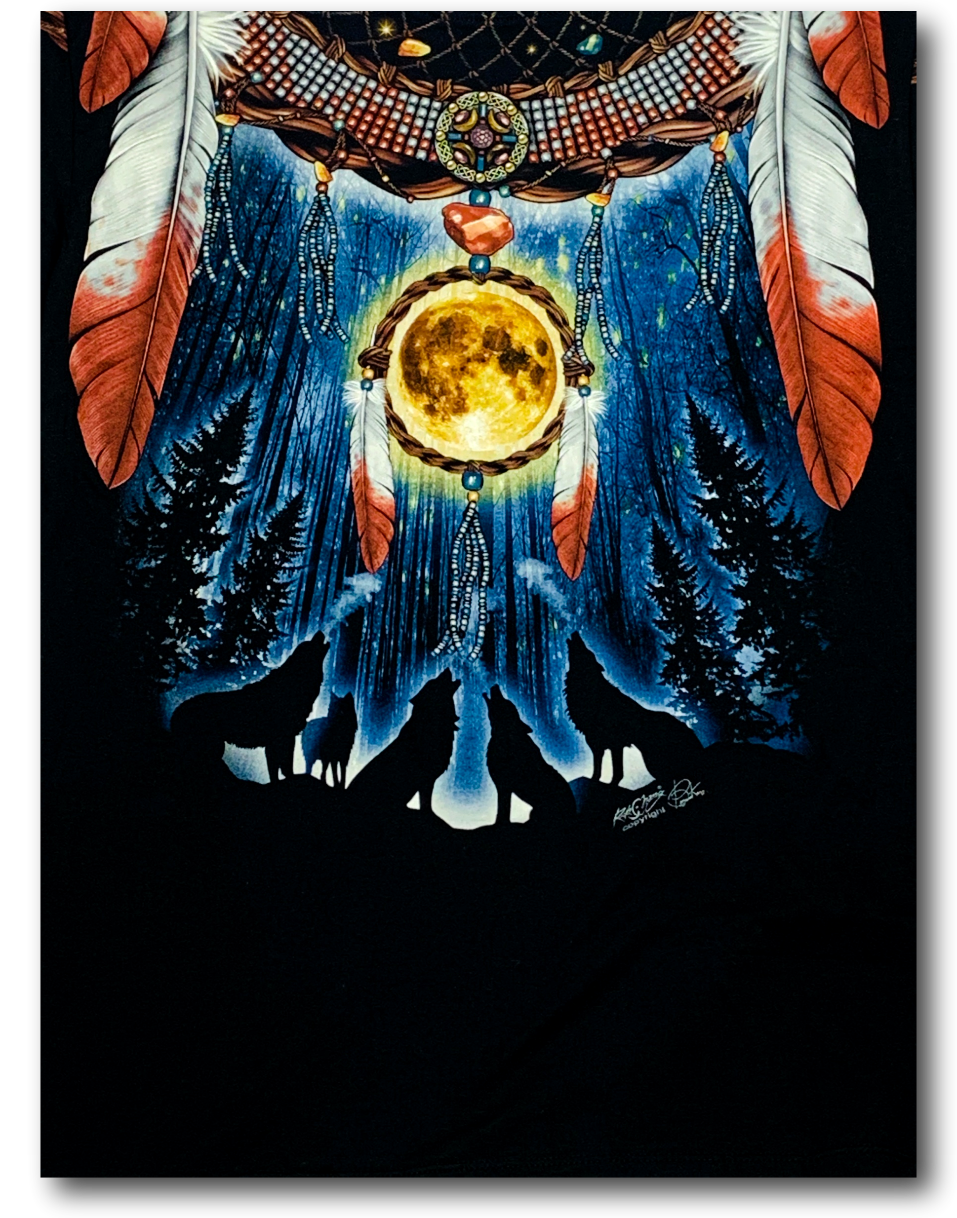Native American Feathers Dream-catcher Glow in the Dark HD Rock Chang T-Shirt