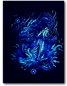 Koi Fish and Asian Dragon Glow in the Dark HD Rock Chang T-Shirt