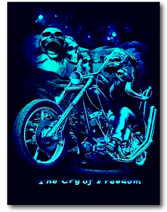 The Cry of Freedom Biker with Founding Fathers Glow in the Dark HD Hot Rock T-Shirt