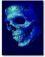 Load image into Gallery viewer, Skull Face metal studded ring Glow in the Dark HD Rock Chang T-Shirt