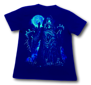 Skull with hands torn gown and orange Moon Glow in the Dark HD Hot Rock T-Shirt