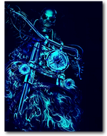 Load image into Gallery viewer, Biker Skull with Flaming Bike Glow in the Dark HD Rock Chang T-Shirt