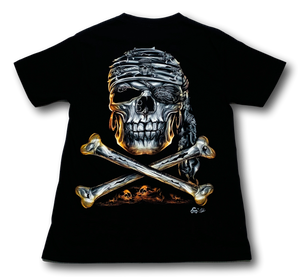 Pirate Skull with Metal nose ring Glow in the Dark 4D Caballo T-Shirt