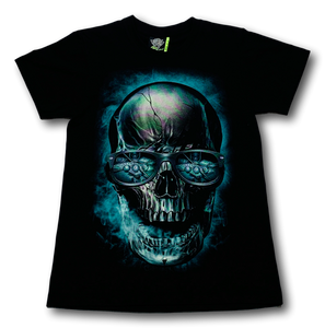 Gambler Skull with Cards Billiards and Whiskey Glow in the Dark T-Shirt by Rock Eagle