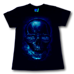 Load image into Gallery viewer, Gambler Skull with Cards Billiards and Whiskey Glow in the Dark T-Shirt by Rock Eagle