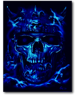 Load image into Gallery viewer, Skull Face with Red Eyes and Nose Ring Glow in the Dark 4D Caballo T-Shirt
