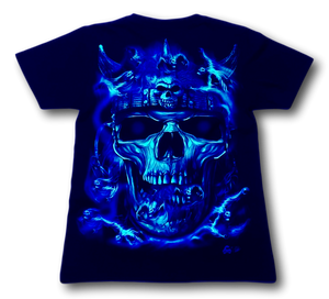 Skull Face with Red Eyes and Nose Ring Glow in the Dark 4D Caballo T-Shirt