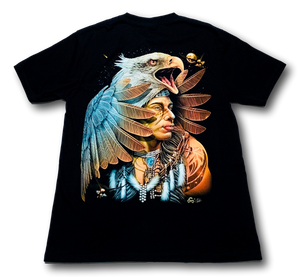 Eagle and Native American with Metal Nose Ring Glow in the Dark 4D Caballo T-Shirt