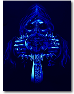 Load image into Gallery viewer, Skull holding Vertical Sword with Metal Nose Ring Glow in the Dark 4D Caballo T-Shirt